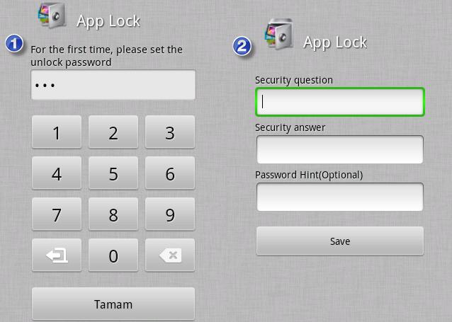 AppLock Güvenlik Şifresi