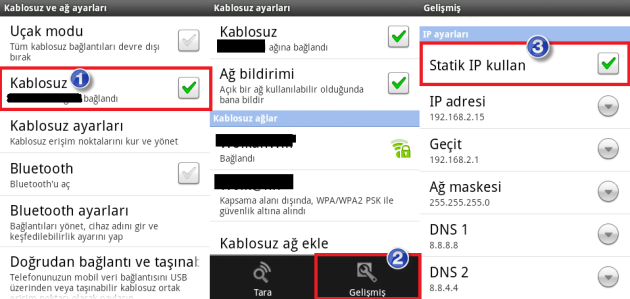 WiFi Problemini Statik IP Cozum